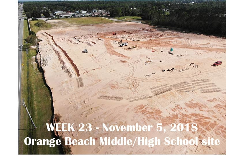 Week 23 aerial photo of Orange Beach school construction site, November 5, 2018