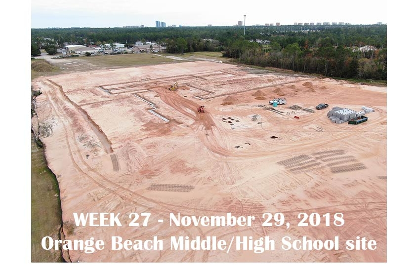 Week 27 aerial photo of Orange Beach school construction site, November 29, 2018