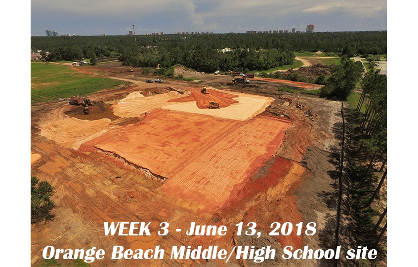 Week 3 aerial photo of Orange Beach school construction site, June 13, 2018