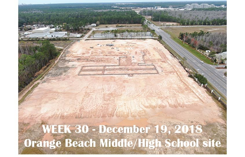 Week 30 aerial photo of Orange Beach school construction site, December 19, 2018