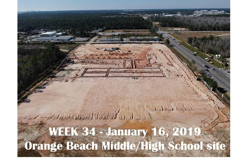 Week 34 aerial photo of Orange Beach school construction site, January 16, 2019