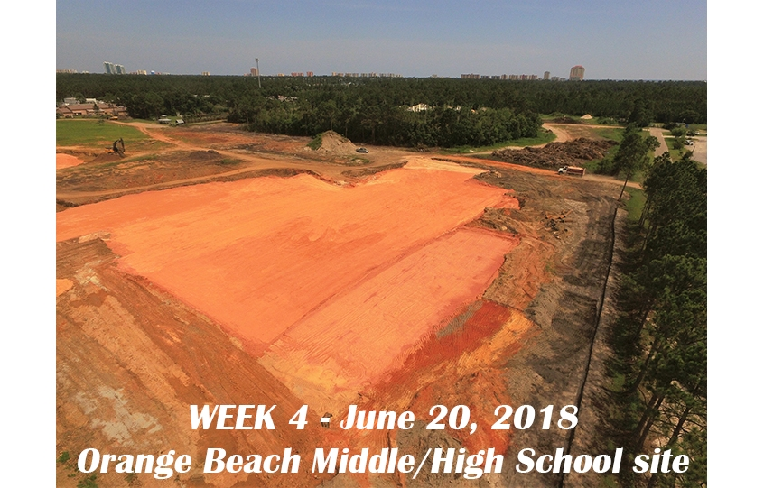 Week 4 aerial photo of Orange Beach school construction site, June 20, 2018