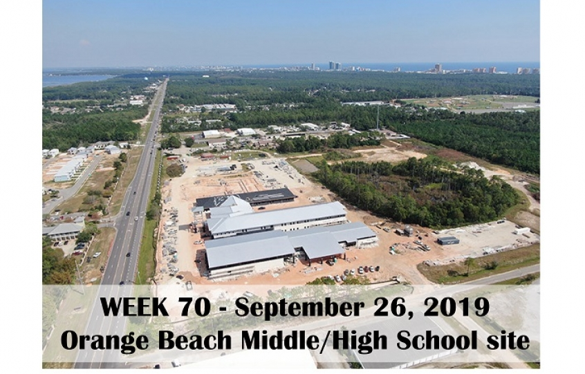 Week 70 aerial photo of Orange Beach school construction site on Canal Road, September 26, 2019