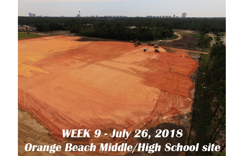 Week 9 aerial photo of Orange Beach school construction site, July 26, 2018