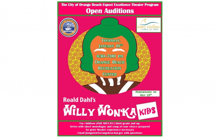 Willy Wonka auditions flyer