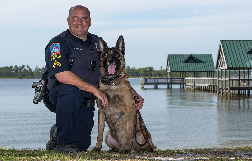 Orange Beach Police Corporal Johnson and K9 Axle