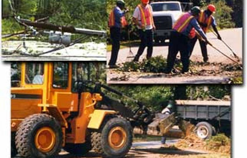 Collage showing debris cleanup