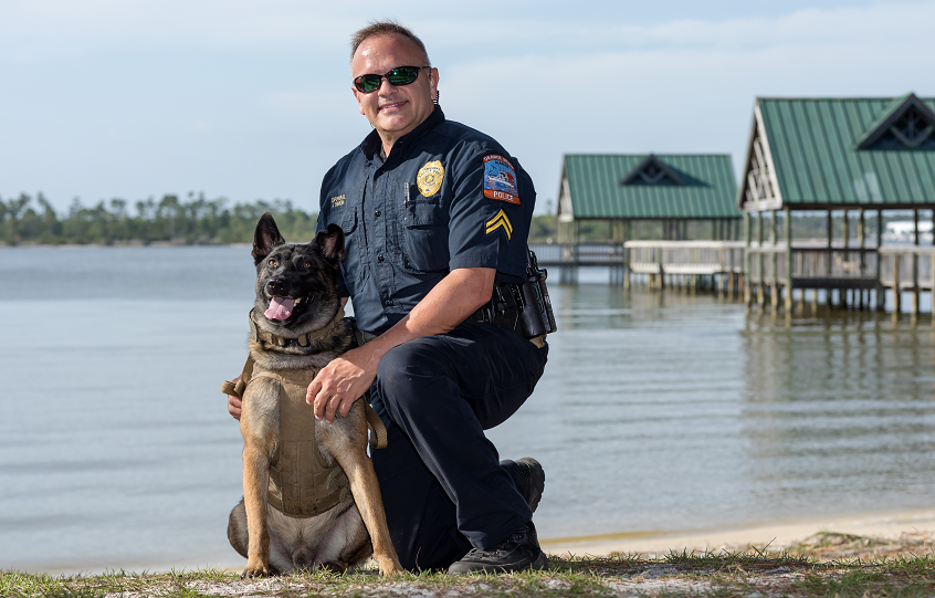 Orange Beach Police Corporal Binion and K9 Perseus