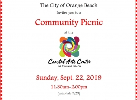 City of Orange Beach to hold community picnic on Sept. 22, 2019 at Coastal Arts Center of Orange Beach