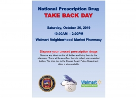 National Prescription Drug Take Back Day set for October 26, 2019
