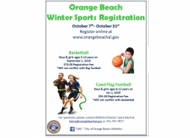 2019 Winter Youth Sports registration open Oct. 7-31 for basketball and co-ed flag football