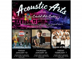 Acoustic Arts series poster for Coastal Arts Center of Orange Beach featuring winter 2020 performers