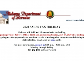 2020 Back-to-School Sales Tax Holiday weekend set for July 17-19