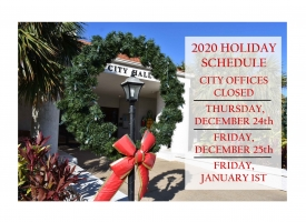 City of Orange Beach 2020 holiday schedule for Christmas and New Year's Day