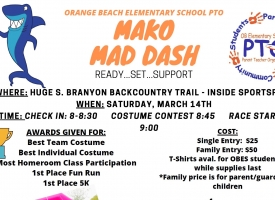 OBES PTO hosting Mako Mad Dash Fun Run/5K on March 14th