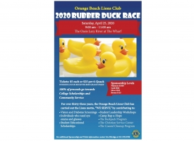 Orange Beach Lions Club Annual Rubber Duck Race fundraiser set April 25th