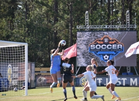 Tennessee goalie save a shot from Vanderbilt in the 2020 SEC Women's Soccer Tournament at the Orange Beach Sportsplex.