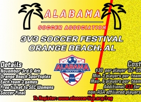 3v3 Soccer Festival in Orange Beach, Nov 3 and 4 2019