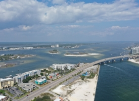 Aerial photo of Perdido Pass in Orange Beach, Alabama
