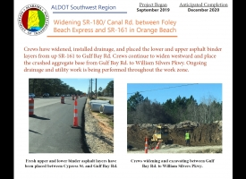 ALDOT January 2020 Newsletter: Widening SR-180/Canal Road in Orange Beach