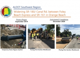 ALDOT Newsletter: Widening SR-180/Canal Rd. between Foley Beach Express and SR-161 in Orange Beach