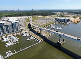 Aerial photo of the Beach Express bridge in Orange Beach