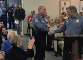 Assistant Chief Steve Brown congratulated on promotion