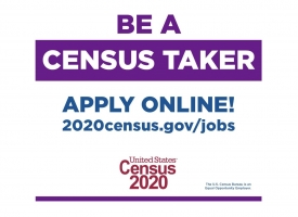 Be a Census Taker graphic to promote 2020 Census job opportunities