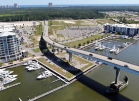 Aerial of Foley Beach Express toll bridge in Orange Beach, Alabama