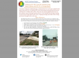 ALDOT February 2020 Newsletter: Widening SR-180/Canal Road in Orange Beach
