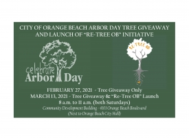 Flyer for Orange Beach Arbor Day tree giveaway and launch of 'Re-Tree OB' initiative