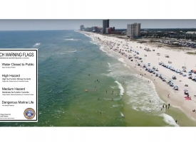 Cotton Bayou Beach aerial from Memorial Day 2019 for beach warning flag information