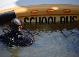 Orange Beach Fire Rescue conducts submerged school bus dive rescue training