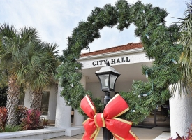 Orange Beach City Hall decorated for Christmas