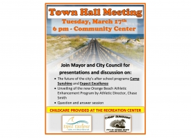 Flier announcing the Orange Beach Town Hall meeting on March 17, 2020