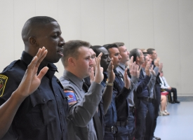 Firefighter Oath at Recruit School Class 19-01 graduation in Spring 2019