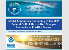 NOAA Announces Reopening of the 2021 Federal Gulf of Mexico Red Snapper Recreational For-Hire Season