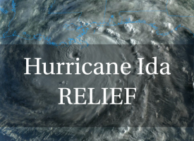 Hurricane Ida Relief graphic with the words overlapping a satellite image of Hurricane Ida's cloud formation before landfall in Louisiana on Sunday, August 29, 2021.