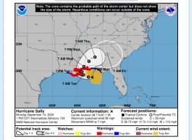 Hurricane Sally track update 1 pm 9.14.2020