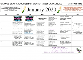 Orange Beach Adult/Senior Activity Center calendar showing activities for January 2020