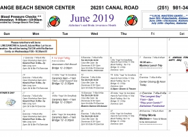 June 2019 Calendar Orange Beach Senior Center