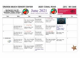 Orange Beach Senior Center June 2021 Newsletter with Excursions and Events