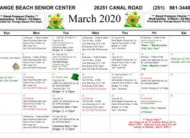 March 2020 calendar listing the Orange Beach Adult/Senior Activity Center's excursions and events