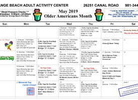 Calendar showing the May 2019 activities at the Orange Beach Adult / Senior Activity Center