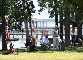 National Day of Prayer observance on the lawn of the Coastal Arts Center of Orange Beach on May 7, 2020.