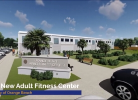 Screenshot from virtual tour video of the new Orange Beach Adult Fitness Center
