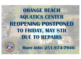 Aquatics Center reopening postponed to Friday, May 8th due to repairs