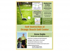 Cover of flyer - Golf clinics for adults being offered at Orange Beach Golf Center for Winter 2021