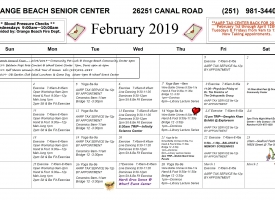 Orange Beach Senior Center February 2019 Calendar
