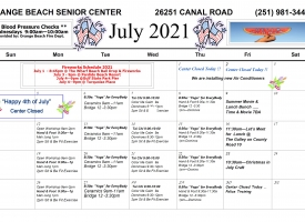 Orange Beach Senior Center July 2021 Excursions and Events